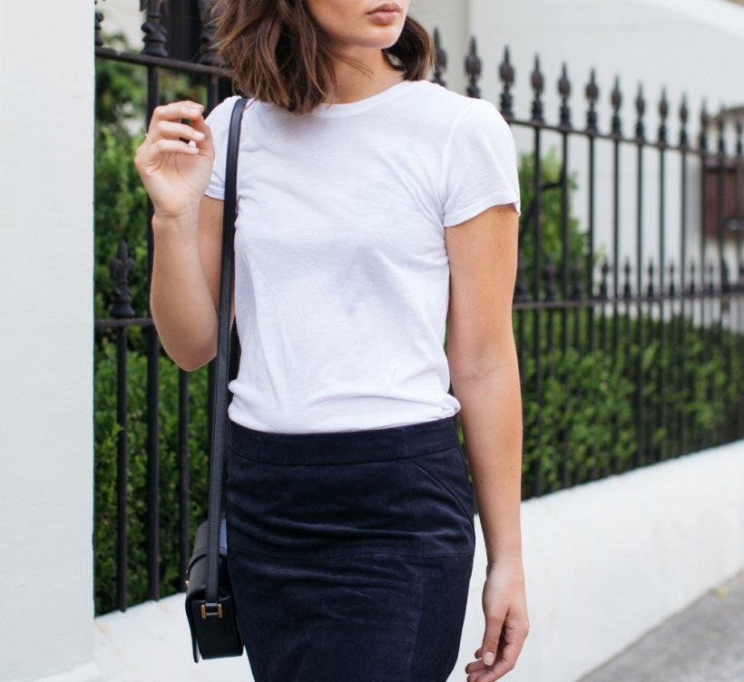 Harper and harley outfit  street style navy suede skirt white t shirt cons 1