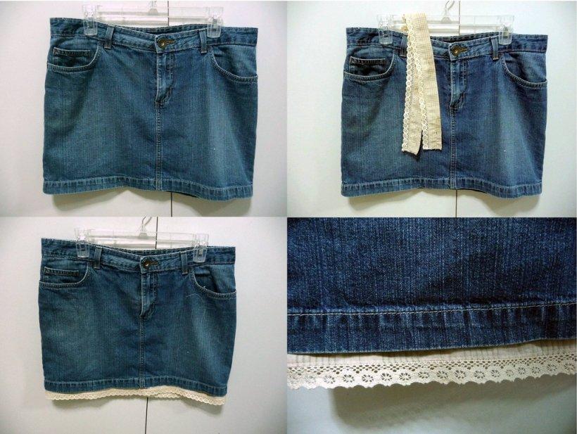 Декорируем джинсовую юбку своими руками 46